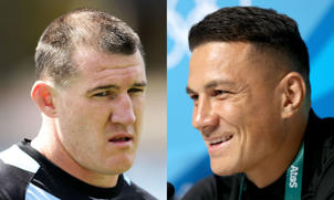Cronulla NRL captain Paul Gallen (left)  wants to take on Sonny Bill Williams (right).