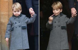 BUCKLEBURY, BERKSHIRE - DECEMBER 25: Prince George of Cambridge attends Church on Christmas Day on December 25, 2016 in Bucklebury, Berkshire. (Photo by Samir Hussein/Samir Hussein/WireImage) BUCKLEBURY, BERKSHIRE - DECEMBER 25: Prince George of Cambridge licks a candy cane at Church on Christmas Day on December 25, 2016 in Bucklebury, Berkshire. (Photo by Danny Martindale/WireImage)