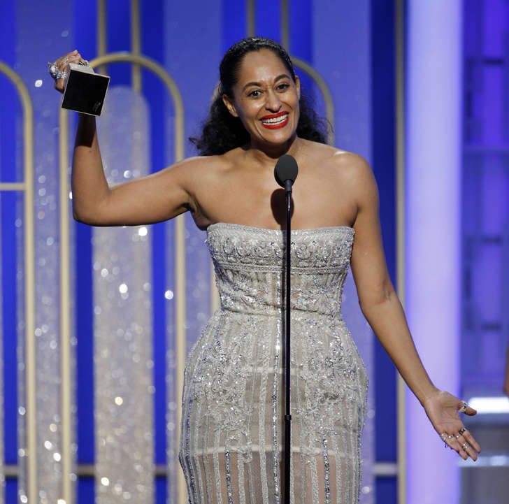 Jan 8, 2017; Beverly Hills, CA, USA; Tracee Ellis Ross, accepts her award for Best Actress in a Television Series, Musical or Comedy during the 74th Golden Globe Awards at Beverly Hilton. Mandatory Credit: Paul Drinkwater/Handout Photo via USA TODAY NETWORK