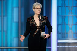 Jan 8, 2017; Beverly Hills, CA, USA; Meryl Streep receives the Cecil B. Demille Award during the 74th Golden Globe Awards at Beverly Hilton. Mandatory Credit: Paul Drinkwater/NBC via USA TODAY NETWORK