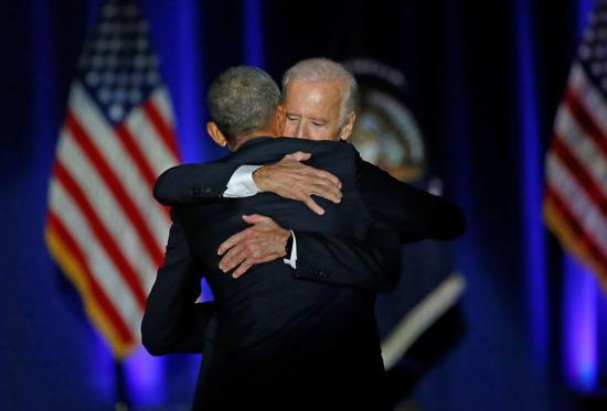 Slide 8 de 13: President Barack Obama hugs Vice President Joe Biden after giving his presidential farewell address at McCormick Place in Chicago, Tuesday, Jan. 10, 2017.