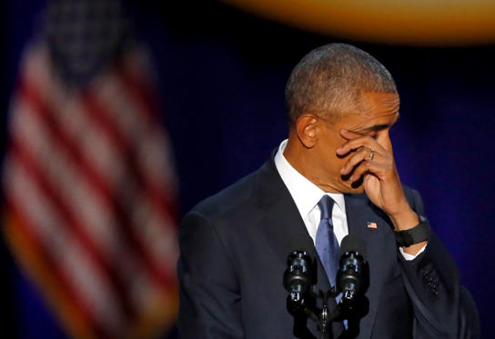 Slide 6 de 13: President Barack Obama wipes his tears as he speaks at McCormick Place in Chicago, Tuesday, Jan. 10, 2017, giving his presidential farewell address.