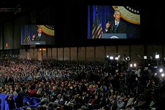 Slide 4 de 13: Supporters listen as President Barack Obama speaks at McCormick Place in Chicago, Tuesday, Jan. 10, 2017, giving his presidential farewell address.