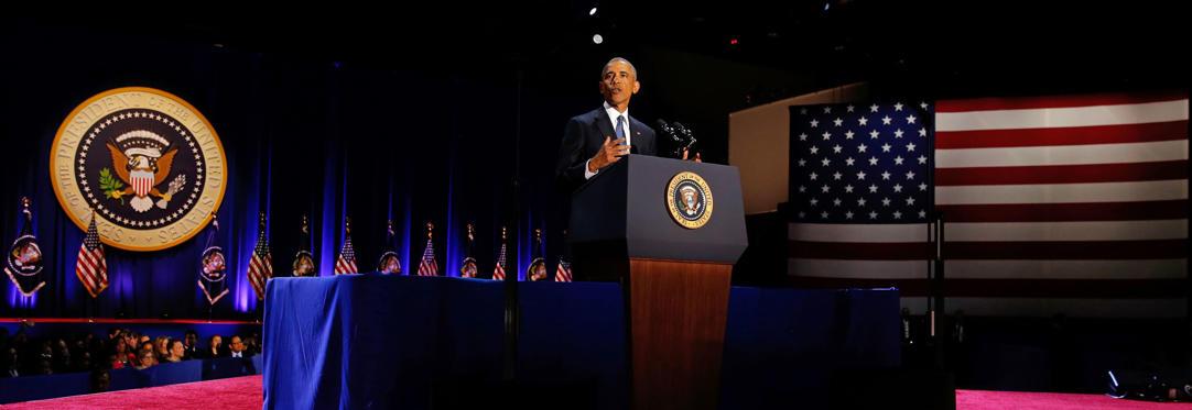 Slide 5 de 13: U.S. President Barack Obama delivers his farewell address in Chicago, Illinois, U.S., January 10, 2017.