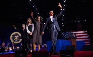 President Obama is joined by Michelle and Malia after his farewell address at McCormick Place in Chicago on Tuesday, Jan. 10, 2017.