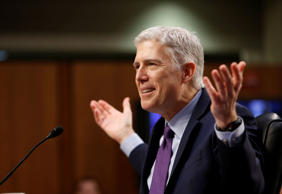 U.S. Supreme Court nominee judge Neil Gorsuch testifies during the second day of his Senate Judiciary Committee confirmation hearing on Capitol Hill.