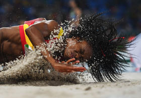 RIO DE JANEIRO, BRAZIL - AUGUST 16:  Juliet Itoya of Spain competes during the Women's Long Jump Qualifying Round on Day 11 of the Rio 2016 Olympic Games at the Olympic Stadium on August 16, 2016 in Rio de Janeiro, Brazil.  (Photo by Shaun Botterill/Gett