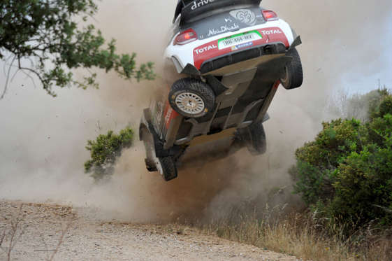 Slide 28 of 34: ALGHERO, ITALY - JUNE 12:  Kris Meeke of Great Britain and Paul Nagle of Ireland crashed their Citroen Total Abu Dhabi WRT Citroen DS3 WRC during special stage n°2 'Grighine Sud' during Day One of the WRC Italia Sardinia on June 12, 2015 in Alghero, Ital
