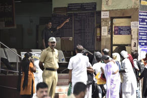 Patients outside a Mumbai hospital on Thursday.