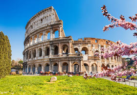 Colosseum at spring in Rome, Italy