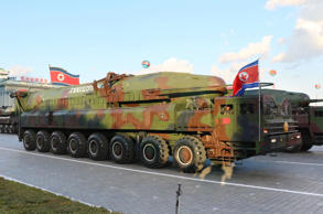 KN-14 intercontinental ballistic missile in a military parade at Pyongyang's Kim Il Sung Square. North Korea appears to have built two new ICBMs and mounted them on mobile launchers for test-firing in the near future, Yonhap News Agency reported on Jan. 19, 2017. (Kyodo)