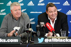 All Blacks coach Steve Hansen speaking to the media along with NZRU CEO Steve Tew.