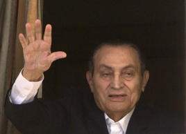 In this April 25, 2016 file photo, ousted Egyptian President Hosni Mubarak waves...