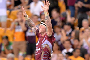 Josh McGuire of the Broncos celebrates victory after the round four NRL match between the Brisbane Broncos and the Canberra Raiders.