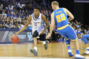 Kentucky Wildcats guard Malik Monk drives to the basket agains UCLA Bruins guard Bryce Alford in the first half during the semifinals of the South Regional of the 2017 NCAA Tournament at FedExForum in Memphis on March 28.