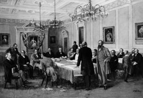 The Fathers of Confederation meeting in London to frame the British North America Act, setting up the Dominion of Canada.  (Three Lions/Getty Images)