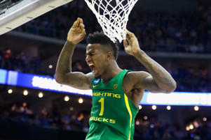 KANSAS CITY, MO - MARCH 25: Jordan Bell #1 of the Oregon Ducks dunks the ball in the second half against the Kansas Jayhawks during the 2017 NCAA Men's Basketball Tournament Midwest Regional at Sprint Center on March 25, 2017 in Kansas City, Missouri.