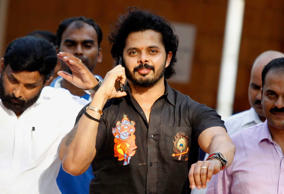 NEW DELHI, INDIA - JULY 25: Former Rajasthan Royals player S. Sreesanth comes out of Patiala House Court after the court exonerated suspended Indian cricketers S. Sreesanth, Ajit Chandila, Ankeet Chavan and others from the Indian Premier League 2013 spot