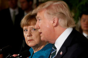 Germany's Chancellor Angela Merkel and U.S. President Donald Trump hold a joint ...