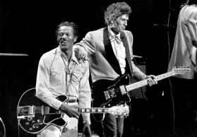 St. Louis, Mo.Chuck Berry , 60, with guitarist Keith Richards of the Rolling Stones celebrated Berry's birthday on stage with a special concert at the Fox Theatre in St. Louis, Mo.