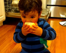Baby brother loves eating onions