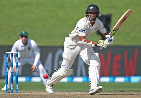 Jeet Raval bats on day three of the third test against South Africa.