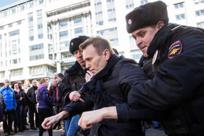 In this photo provided by Evgeny Feldman, Alexei Navalny is detained by police i...
