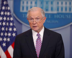 Attorney General Jeff Sessions speaks to the media during the daily briefing in ...