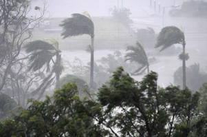 Tropical Cyclone Debbie closing in on the northeastern coast of Australia, Airlie Beach - 28 Mar 2017 Strong winds and rain lash Airlie Beach, Australia, 28 March 2017. Reports state that Cyclone Debbie is expected to hit Queensland's far north coast as
