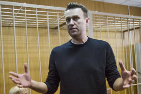 Russian opposition leader Alexei Navalny appears in court in Moscow Monday March 27, 2017.
