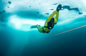 Apnea Distance World Record under the ice, Anterselva, Italy - 12 Mar 2017 A handout photo made available by Global Newsroom on 13 March 2017 shows Valentina Cafolla of Croatia performing during the successful attempt to set a new Apnea distance World re