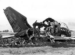 The remains of a KLM jumbo jet which collided with a Pan Am jumbo jet sits in ruins at Los Rodeos airport, Santa Cruz de Tenerife, in this March 27, 1977 file photo. March 27, 2007 marks the 30th anniversary of the world's worst air disaster which killed 583 people when a KLM jet crashed into a Pan Am 747 as it attempted to take off.  (AP Photo)