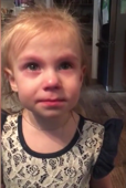 Toddler says she is not crying