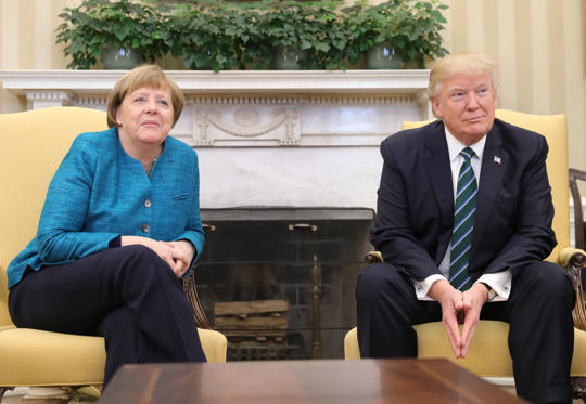 Slide 1 of 19: WASHINGTON, D.C - MARCH 17: German Chancellor Angel Merkel and US-President Donald Trump meet with each other at the White House on March 17, 2017 in Washington, D.C .   PHOTOGRAPH BY Picture-Alliance / Barcroft Images  London-T:+44 207 033 1031 E:hello@barcroftmedia.com - New York-T:+1 212 796 2458 E:hello@barcroftusa.com - New Delhi-T:+91 11 4053 2429 E:hello@barcroftindia.com www.barcroftmedia.com (Photo credit should read Picture-Alliance/Barcroft Images / Barcroft Media via Getty Images)