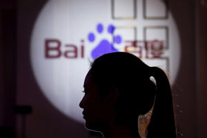 The Baidu logo, in Shanghai, China.