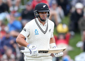 Ross Taylor of New Zealand bats during day three of the First Test match between New Zealand and South Africa at University Oval on March 10, 2017 in Dunedin, New Zealand.