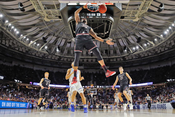 Slide 1 of 27: Chris Silva #30 of the South Carolina Gamecocks dunks the ball in the second half against the Duke Blue Devils during the second round of the 2017 NCAA Men's Basketball Tournament at Bon Secours Wellness Arena on March 19, 2017 in Greenville, South Carolina.