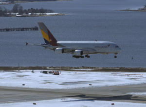 A plane lands at John F. Kennedy International Airport in New York, Thursday, March 16, 2017.