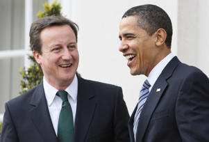 In this Wednesday, April 1, 2009 file photo, then-U.S. President Barack Obama meets with David Cameron, leader of Britain's Conservative Party, at Winfield House in London, Wednesday, April 1, 2009.