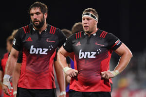Samuel Whitelock and Wyatt Crockett of the Crusaders (L-R) during the Super Rugby match between Crusaders and the Blues on March 17, 2017 in Christchurch, New Zealand.