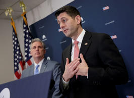 Speaker of the House Paul Ryan, R-Wis., joined by Majority Leader Kevin McCarthy...
