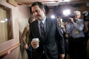 House Intelligence Committee Chairman Rep. Devin Nunes, R-Calif. is pursued by r...