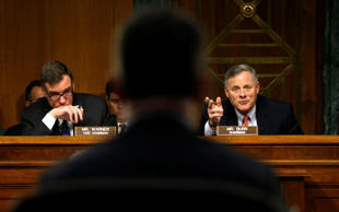 "Senate Intelligence Committee Chairman Sen. Richard Burr, R, (R-NC) and ranking Democrat Sen. Mark Warner, L, (D-VA) hold a committee hearing titled ""Disinformation: A Primer in Russian Active Measures and Influence Campaigns"" at the U.S. Capitol in Washington, U.S., March 30, 2017."