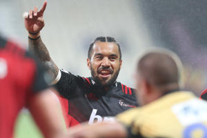 Digby Ioane of the Crusaders, centre, celebrates his team's try during the match between the Crusaders and the Force on Friday, March 24, 2017.