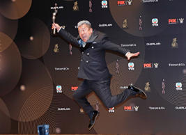 "Hong Kong actor Eric Tsang poses after winning the Best Supporting Actor award for his movie ""Mad World"" during the Hong Kong Film Awards in Hong Kong, Sunday, April 9, 2017. (AP Photo/Kin Cheung)"