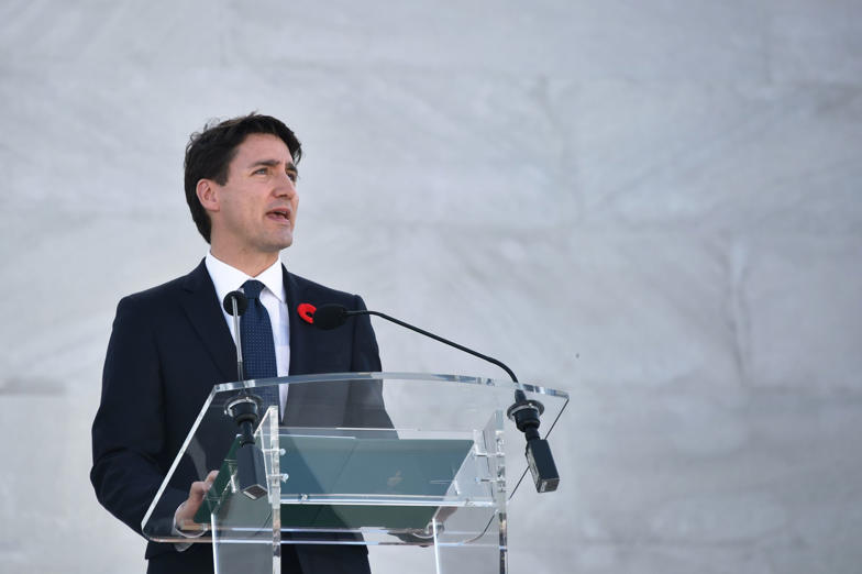 Slide 1 of 28: Canadian Prime Minister Justin Trudeau delivers a speech during a commemoration ceremony at the Canadian National Vimy Memorial in Vimy, near Arras, northern France, on April 9, 2017, marking the 100th anniversary of the Battle of Vimy Ridge, a World War
