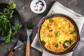 Traditional French food. quiche lorraine. Frittata. Baked in the oven egg omelet...