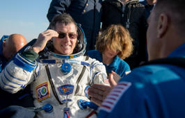 ISS crew member and NASA astronaut Kimbrough reacts after landing near Dzhezkazgan