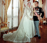 Portrait of Rainier III, Prince of Monaco to Princess Grace on their wedding day on April 19, 1956 in Monaco.