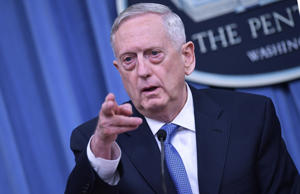 US Secretary of Defense James Mattis takes questions during a briefing at the Pentagon in Washington, DC on April 11, 2017.
